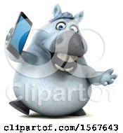 3d Chubby White Horse Talking On A Cell Phone On A White Background