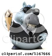 Clipart Of A 3d Chubby White Business Horse Holding A Waffle Cone On A White Background Royalty Free Illustration by Julos