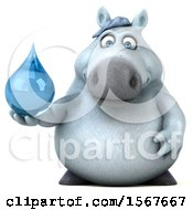 Clipart Of A 3d Chubby White Horse Holding A Water Drop On A White Background Royalty Free Illustration by Julos