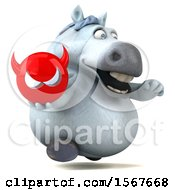 Clipart Of A 3d Chubby White Horse Holding A Devil On A White Background Royalty Free Illustration by Julos