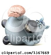 Clipart Of A 3d Chubby White Horse Holding A Brain On A White Background Royalty Free Illustration by Julos