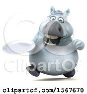 Clipart Of A 3d Chubby White Horse Holding A Plate On A White Background Royalty Free Illustration by Julos