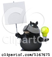 3d Chubby Black Horse Holding A Light Bulb On A White Background