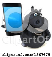 3d Chubby Black Horse Holding Up A Cell Phone On A White Background
