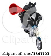 Clipart Of A 3d Chubby Black Business Horse Biker Riding A Chopper Motorcycle On A White Background Royalty Free Illustration