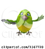 Clipart Of A 3d Green Bird Holding A Wrench On A White Background Royalty Free Illustration by Julos