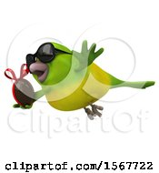 Clipart Of A 3d Green Bird Holding A Chocolate Egg On A White Background Royalty Free Illustration by Julos