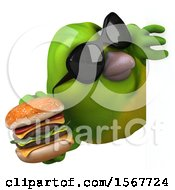 Clipart Of A 3d Green Bird Holding A Burger On A White Background Royalty Free Illustration by Julos