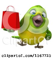 Clipart Of A 3d Green Bird Holding A Shopping Bag On A White Background Royalty Free Illustration by Julos