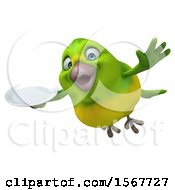 Clipart Of A 3d Green Bird Holding A Plate On A White Background Royalty Free Illustration by Julos