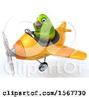 Clipart Of A 3d Green Bird Flying A Plane On A White Background Royalty Free Illustration by Julos