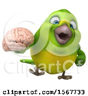 Clipart Of A 3d Green Bird Holding A Brain On A White Background Royalty Free Illustration by Julos