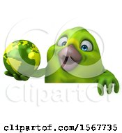 Clipart Of A 3d Green Bird Holding A Globe On A White Background Royalty Free Illustration by Julos