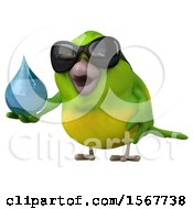 Clipart Of A 3d Green Bird Holding A Water Drop On A White Background Royalty Free Illustration by Julos