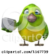 Clipart Of A 3d Green Bird Holding An Envelope On A White Background Royalty Free Illustration by Julos