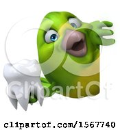 Clipart Of A 3d Green Bird Holding A Tooth On A White Background Royalty Free Illustration by Julos
