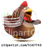 3d Chubby Brown Chicken Holding A Birthday Cake On A White Background