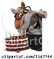 Clipart Of A 3d Chubby Brown Business Horse Holding A Birthday Cake On A White Background Royalty Free Illustration by Julos
