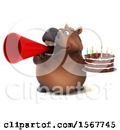 Clipart Of A 3d Chubby Brown Horse Holding A Birthday Cake On A White Background Royalty Free Illustration by Julos