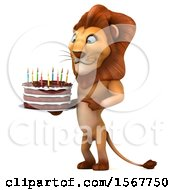3d Lion Holding A Birthday Cake On A White Background