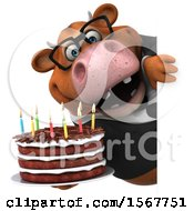 3d Brown Business Cow Holding A Birthday Cake On A White Background