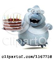 3d White Monkey Yeti Holding A Birthday Cake On A White Background