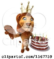 Clipart Of A 3d King Lion Holding A Birthday Cake On A White Background Royalty Free Illustration