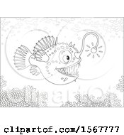 Lineart Swimming Anglerfish In The Ocean