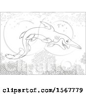 Lineart Goblin Shark Swimming In The Ocean