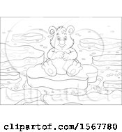 Lineart Polar Bear Sitting On Floating Ice