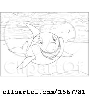 Clipart Of A Black And White Killer Whale Orca Swimming In The Ocean Royalty Free Vector Illustration