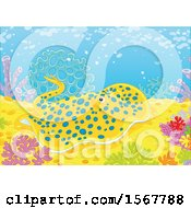 Clipart Of A Blue Spotted Stingray On A Coral Reef Royalty Free Vector Illustration