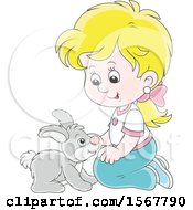 Clipart Of A Blond White Girl Kneeling And Playing With Her Pet Bunny Rabbit Royalty Free Vector Illustration