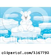 Polar Bear Sitting On Floating Ice