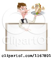 Male Waiter Holding A Kebab Sandwich Character On A Tray Pointing Down Over A Blank Sign