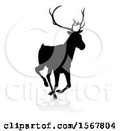 May 23rd, 2018: Clipart Of A Black Silhouetted Deer Stag Buck With A Shadow On A White Background Royalty Free Vector Illustration by AtStockIllustration