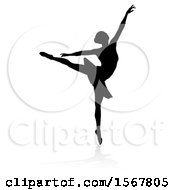 May 23rd, 2018: Clipart Of A Silhouetted Ballerina Dancing With A Reflection Or Shadow On A White Background Royalty Free Vector Illustration by AtStockIllustration