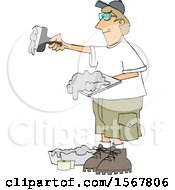 Clipart Of A Drywall Installer Working Royalty Free Vector Illustration