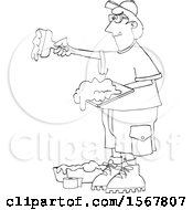 Clipart Of A Lineart Drywall Installer Working Royalty Free Vector Illustration