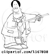 Clipart Of A Lineart Black Business Man Taking A Measurement Royalty Free Vector Illustration