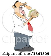Clipart Of A Man About To Shove A Taco In His Mouth Royalty Free Vector Illustration