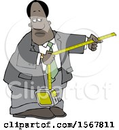 Clipart Of A Black Business Man Taking A Measurement Royalty Free Vector Illustration
