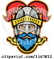 Clipart Of A Retro Knight Wearing A Plumed Helmet Royalty Free Vector Illustration