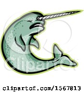 Clipart Of A Tough Narwhal Animal Mascot Royalty Free Vector Illustration