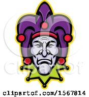 Clipart Of A Retro Court Jester Face Royalty Free Vector Illustration