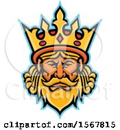 Clipart Of A Retro King And Crown Head Royalty Free Vector Illustration
