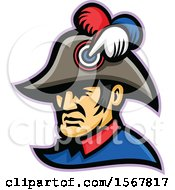 Clipart Of A Retro French Emperor Mascot Head Royalty Free Vector Illustration