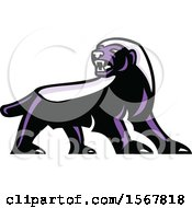 Clipart Of A Tough Purple Honey Badger Animal Mascot Royalty Free Vector Illustration