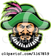 Clipart Of A Retro Minstrel Mascot Head Royalty Free Vector Illustration by patrimonio