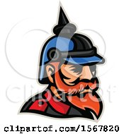 Clipart Of A Retro Prussian Officer Mascot Head Royalty Free Vector Illustration